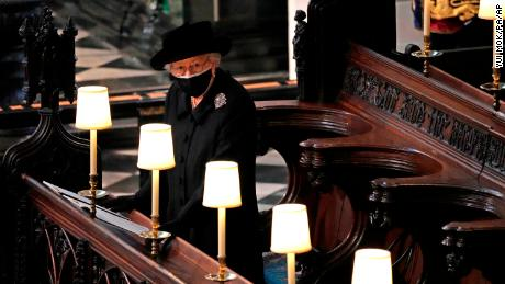 The Queen stands during the funeral. She and Prince Philip were married for 73 years.