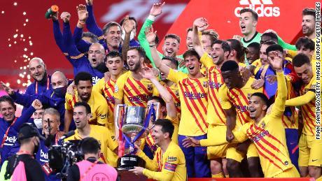 Barcelona players celebrate winning the Copa del Rey.