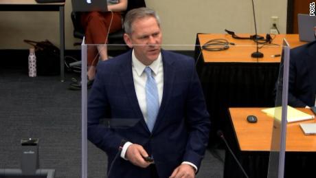 Prosecutor Steve Schleicher speaking during the Chauvin trial.