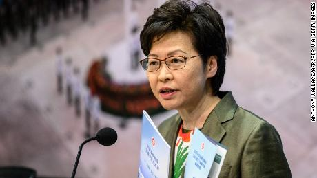 Hong KongChief Executive Carrie Lam speaks at a news conference on April 13.