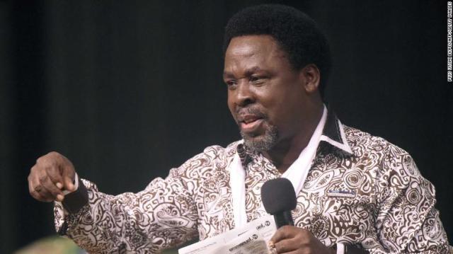 Nigerian pastor TB Joshua pictured at his Lagos megachurch in December 2014.