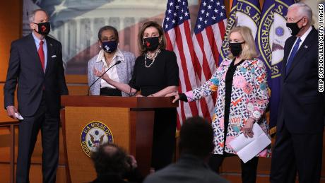 From left to right, Sen. Tom Carper of Delaware, Del. Eleanor Norton Holmes, House Speaker Nancy Pelosi, Rep. Carolyn Maloney and House Majority Leader Steny Hoyer hold a news conference about statehood for the District of Columbia at the US Capitol on Thursday in Washington, DC.