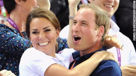 Catherine and William celebrate during cycling events at the Olympic Games in London in August 2012.