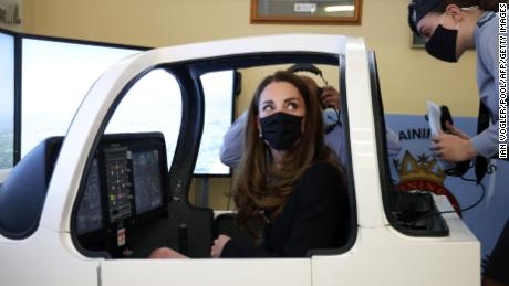 The Duchess of Cambridge was dressed in black as a mark of respect following the death of the Duke of Edinburgh and wore a face covering to combat the spread of Covid-19 during the visit.
