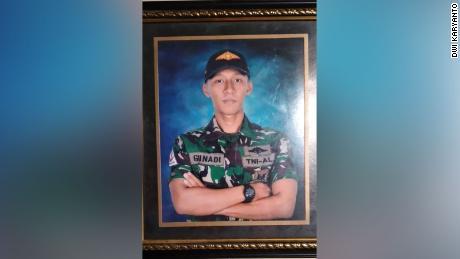An image of the submarine Gunadi Fazer Rahmanto was seen at his family's home.