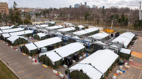 The field hospital in the parking lot of Sunnybrook Hospital in Toronto.