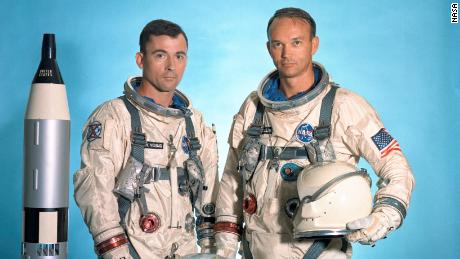The Gemini X prime crew was made up of astronauts John W. Young (left), command pilot, and Michael Collins, pilot.