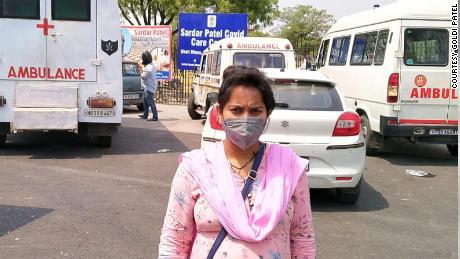 Goldi Patel outside the New Delhi hospital.