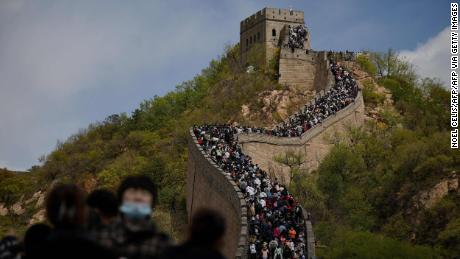 Tourists at the Great Wall on May 1, 2021.