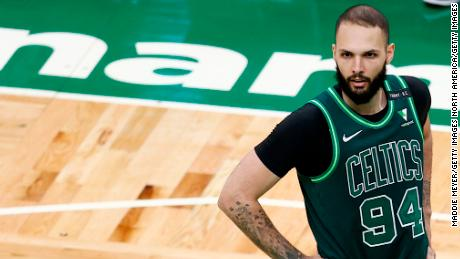 Fournier looks on during the Celtics' game against the Charlotte Hornets on April 28.