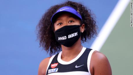 Osaka wears a protective mask with the name Ahmaud Arbery printed on it after winning the women's singles third round match against Ukrainian Marta Kostyuk on the fifth day of the 2020 US Open.