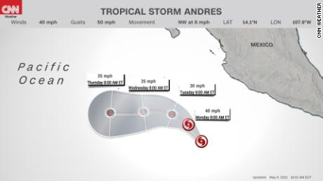 Tropical Storm Andres: Earliest tropical storm on record develops in the eastern Pacific 1
