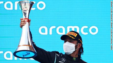 Lewis Hamilton celebrates his victory at the Spanish Grand Prix.