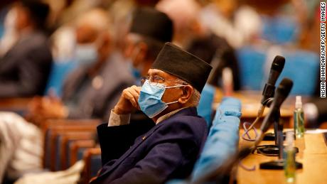 The  Former Nepalese Prime Minister KP Sharma Oli in parliament in Kathmandu on May 10.