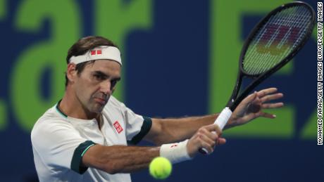 Federer plays a shot at the Qatar Open on March 11.