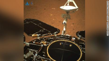 The color image taken by the rover's navigation camera shows the solar panel and antenna have unfolded normally after landing, China said.