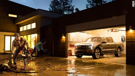 The Ford F-150 Lightning's batteries could power a home in an emergeny, according to Ford.