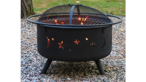 Cosmic Stars and Moon 30-Inch Wood Burning Fire Pit
