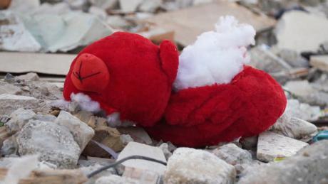A stuffed toy found among the ruins on Al-Wahdah street.