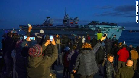 HMS Queen Elizabeth departs Naval Base Portsmouth for its maiden deployment to lead the UK Carrier Strike Group on a 28-week operational deployment travelling over 26,000 nautical miles from the Mediterranean to the Philippine Sea.
