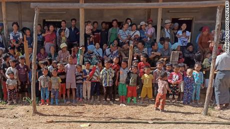 People displaced by fighting from Myanmar's northwestern town of Mindat are pictured in Chin State on May 20.