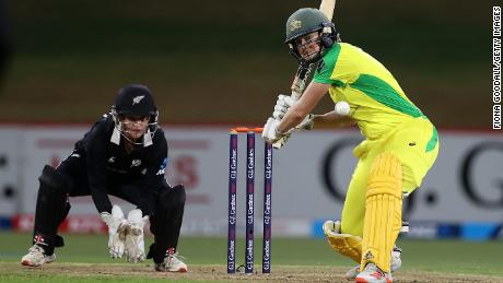 Perry plays a shot against New Zealand on April 10, 2021.