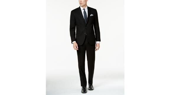 Kenneth Cole Reaction Herren Ready Flex Solid Black Slim Fit Anzug