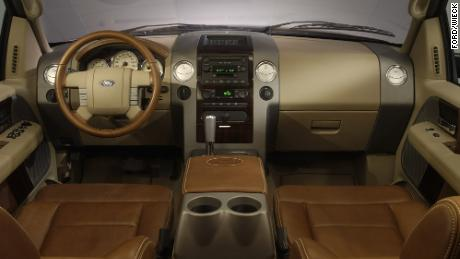 Pickup trucks can now be purchased with interiors rivaling those in luxury cars, like this one in the 2005 Ford F-150 King Ranch model.