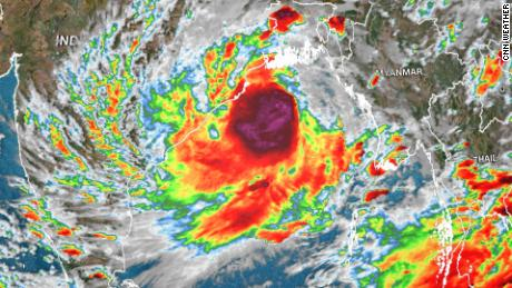 Satellite imagery shows Yaas as it bears down on India.