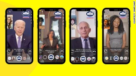 In this example provided by Snapchat, users demonstrate the app's new augmented reality lens.
