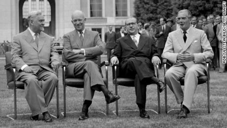 Soviet Premier Nikolai Bulganin, US President Dwight Eisenhower, French Foreign Minister Edgar Faure, and UK Prime Minister Anthony Eden at the historic Geneva Summit in 1955.