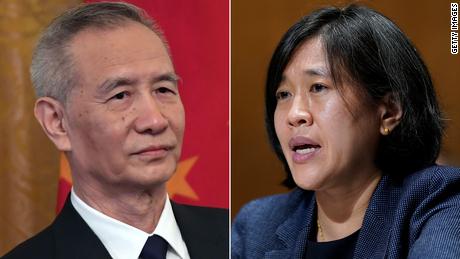 Chinese Vice Premier Liu He and US Trade Representative Katherine Tai (right).