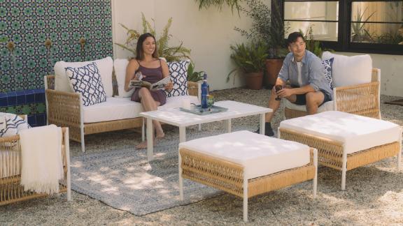 SunHaven Olivia 7-Piece Outdoor Roped Wicker Sofa Set