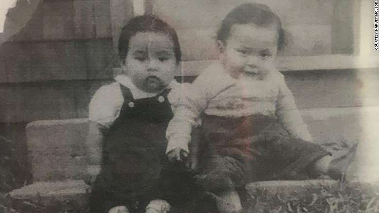 A childhood photo of Harvey McLeod, at left.