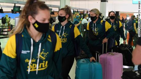 Australia's softball players prepare to leave for the Tokyo Olympics.