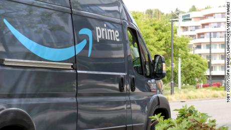 An Amazon Prime delivery van is seen in Seattle on April 27, 2021.