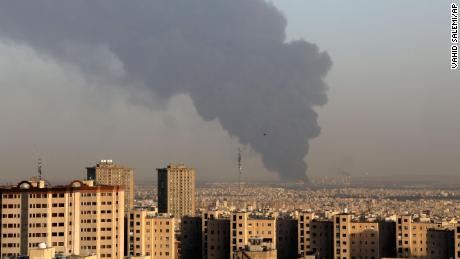 Huge smoke rises up from Tehran's main oil refinery south of the capital on June 2.