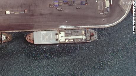 """The """"Makran,"""" seen here in another Maxar Technologies satellite image from late April when it was docked in the Iranian port of Bandar Abbas."""