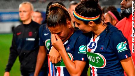 Nadia Nadim comforts her teammate after losing the French Cup final to Lyon in 2020.