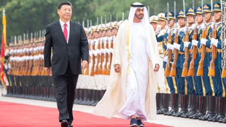 Chinese President Xi Jinping holds a welcome ceremony for Sheikh Mohammed bin Zayed Al Nahyan, crown prince of Abu Dhabi of the United Arab Emirates, before their talks in Beijing, China, on July 22, 2019.