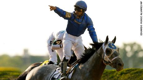 Jockey Luis Saez  reacts after winning the 153rd running of the Belmont Stakes atop Essential Quality on Saturday, June 5.