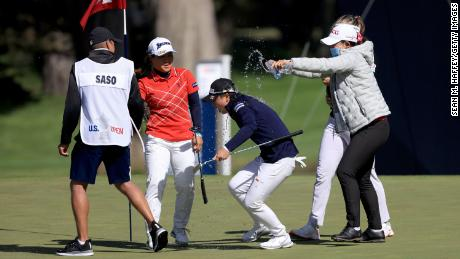 Saso gets wet after winning the 76th US Women's Open.