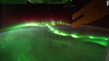 Auroral beads are seen from the International Space Station.
