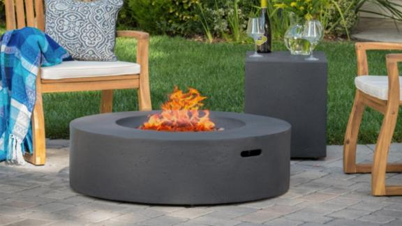 Aidan Circular Outdoor Gas Fire Pit Table With Tank Holder