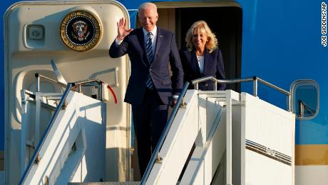 US President Joe Biden and First Lady Jill Biden arrive on Air Force One at RAF Mildenhall in Suffolk ahead of the G7 summit in Cornwall.