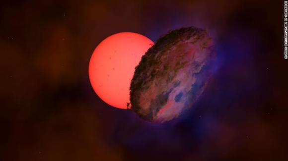 This is an artist's impression of VVV-WIT-08, a giant 'blinking' star near the center of the Milky Way.