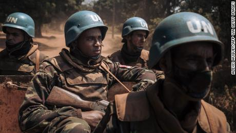 Moroccan peacekeepers from MINUSCA, the UN mission in the Central African Republic, patrol in the town of Bangassou on February 3, 2021.