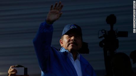 Nicaraguan President Daniel Ortega waves in Managua on August 22, 2018.