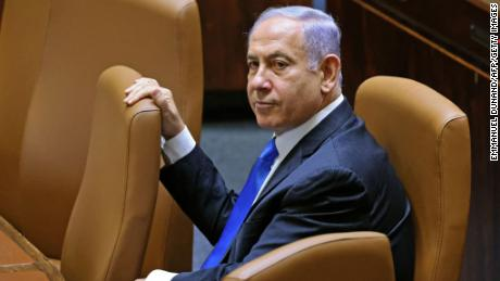 Israel's Prime Minister Benjamin Netanyahu attends a special session in the Knesset on June 13.
