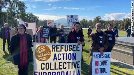 Migrant rights campaigners gathered outside Parliament House in Canberra on Tuesday to call for the family's release.